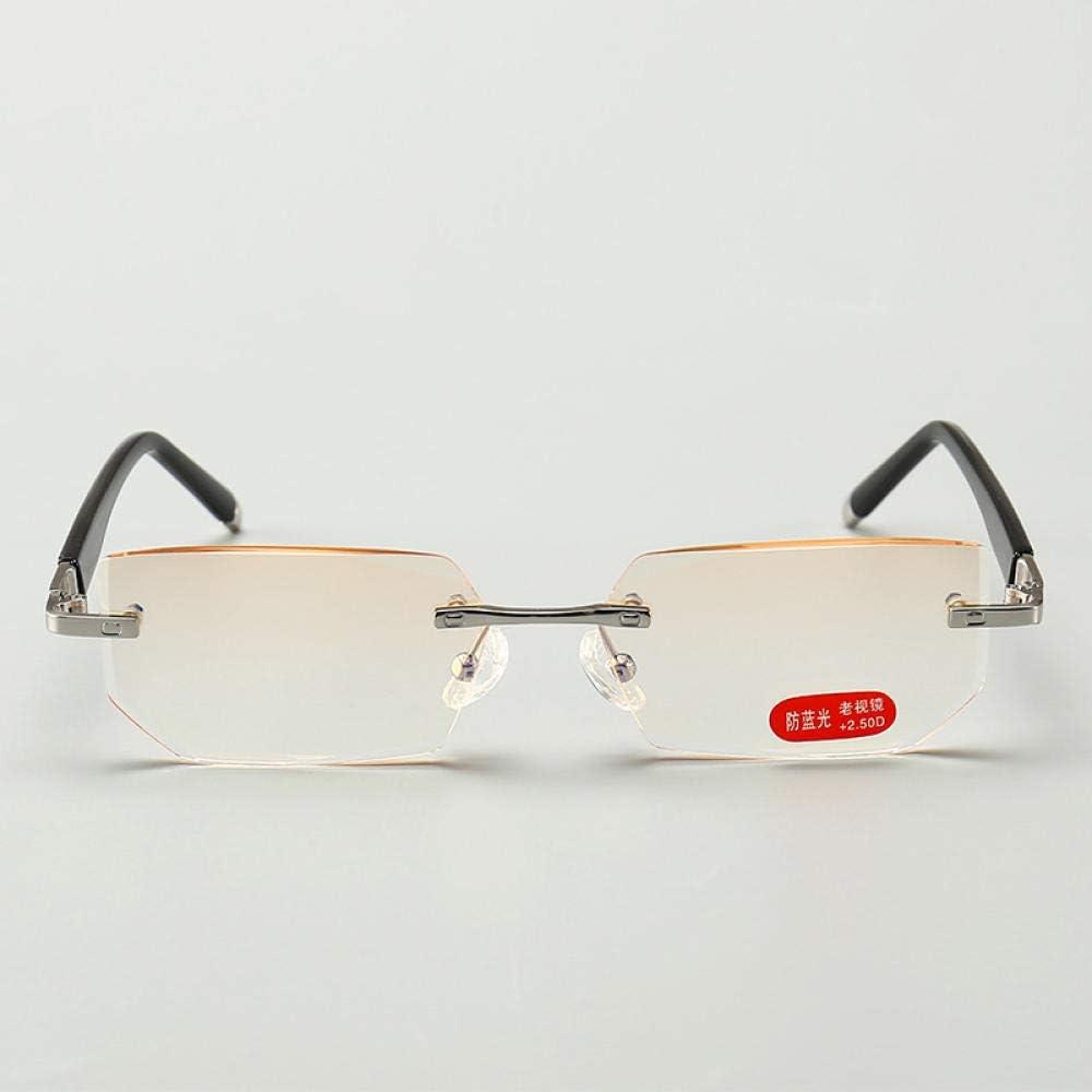WEIDD Gafas De Filtro De Luz Azul, Gafas De Pantalla, Ojos De Juego Gafas De Lectura De Moda Hd Gafas De Lectura De Metal Sin Marco Con Borde De Corte De Diamante De RadiacióN Anti-Azul Para Hombres