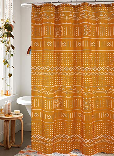 YoKii Mudcloth Fabric Shower Curtain, 72-Inch Ethnic African Inspired Big Arrow Boho Bathroom Shower Curtain Sets Mud Cloth Decor, Heavy Weighted & Waterproof (Yellow, 72 x 72)