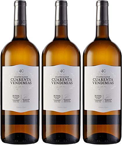 Cuatro Rayas Vino Blanco Cuarenta Vendimias Verdejo Magnum D.O Rueda - 3 Botellas de 1500 ml (Total 4.5 L)