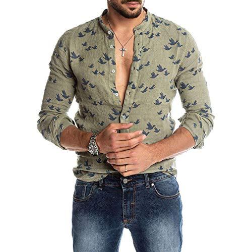 Camisa de Lino para Hombre Button Down Manga Larga Camisa Casual Flamencos Estampada Camisa Hawaiana Comodo Suave Transpirable Camisa de Trabajo