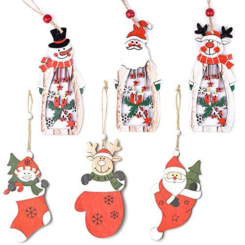 6 Pezzi Ornamenti Natalizi in Legno da Appendere,Pendenti Legno Natalizi Addobbi Albero,Ornamenti di Albero di Natale Pendenti in Legno Handmade Natale Babbo Natale Albero di Natale Sled Snowman