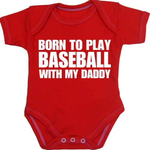 Babyprem Baby Body Strampler 'Born to Play Baseball with My Daddy' Kleidung ROT 74-80cm