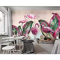 xueshao カスタム壁紙壁画現代熱帯植物バナナの葉フラミンゴテレビ背景壁3D壁紙-200X140Cm