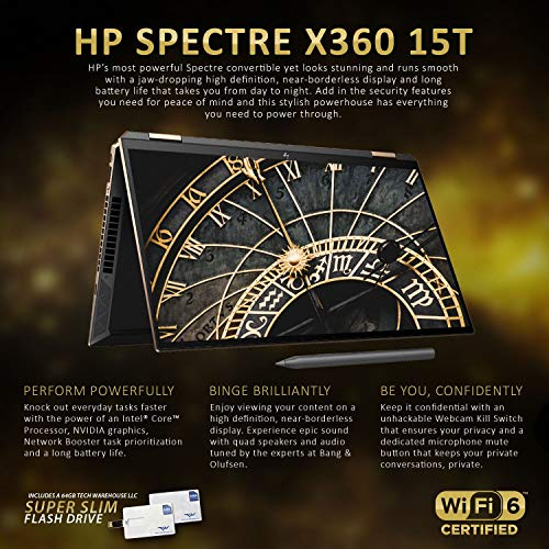 HP Spectre x360 15T 2020 i7-10750H Hexacore, 16 GB RAM, 1 TB SSD, Nvidia GTX 1650Ti 4GB Gráficos, 15.6 4K Touch, Wi-Fi 6, Win 10 Pro, Nightfall Black, HP Pen, 64 GB Tech Warehouse Flash Drive