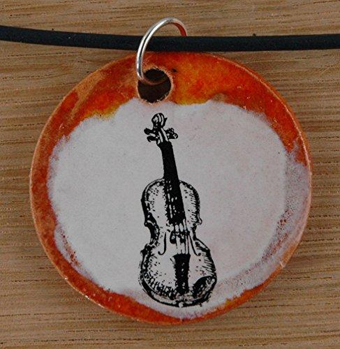 Echtes Kunsthandwerk: Toller Keramik Anhänger mit einem Bass; Geige, Violine, Streichinstrument, Musiker, Geiger, Fiddel, Fiddler, Violine