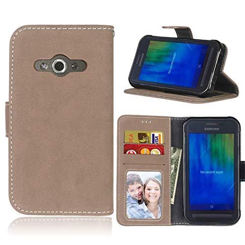 Ycloud Geldbörse Hülle für Samsung Galaxy Xcover3 G388F Smartphone, Matt Textur PU Leder Magnetisch Flip Handyhülle mit Standfunktion Kartenfächer Entwurf (Beige)
