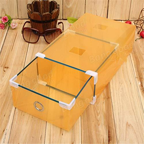 Kuingbhn Caja de almacenamiento de zapatos transparente para guardar zapatos, organizador de cajones y cajones plegables para mujer (tamaño: 30 x 17 x 9 cm, color: naranja)