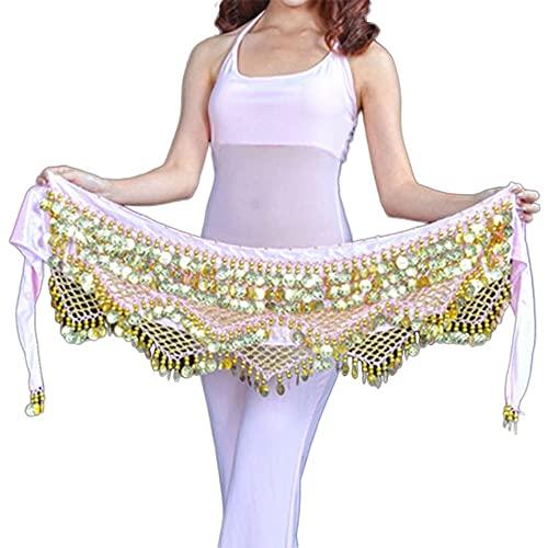 WEIJ Barriga Danza Cintura Cadena Gypsophila Cintura Bufanda Escaramujo Toalla Indio Danza Disfraz Sagú Cinturón con Oro Monedas Faldas (Color : Pink - Gold)