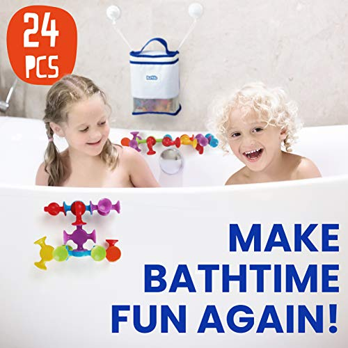 BunMo Bath Toys with Suction Bathtub Toy Organizer - 24pk Brilliant Stem Learning Educational Toys for 3 Year olds and Above