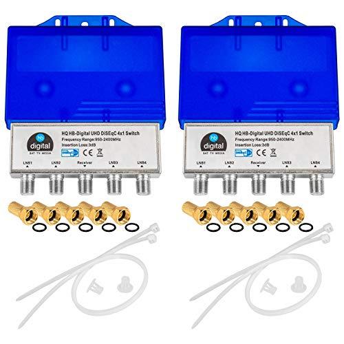 2X HQ DiseqC Schalter Switch 4/1 mit Wetterschutzgehäuse HB-DIGITAL 4X SAT LNB 1 x Teilnehmer / Receiver für Full HDTV 3D 4K UHD + 10 x Vergoldete F-Stecker Vergoldet