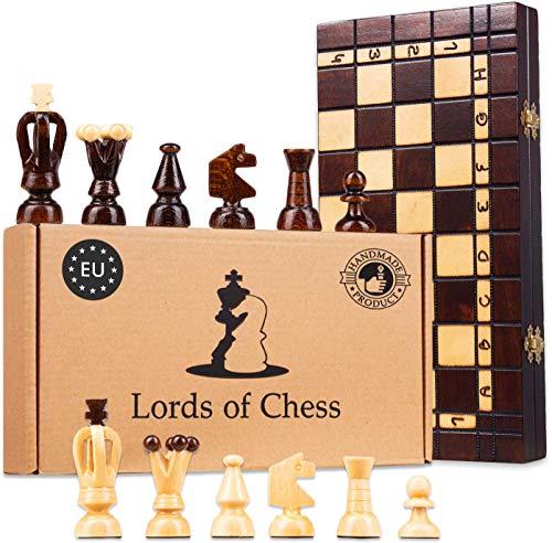 Amazinggirl Schachspiel Schach Backgammon Dame Set 3 in 1 - Holz Schachbrett Chess Board hochwertig mit Schachfiguren groß für Kinder und Erwachsene 35 cm
