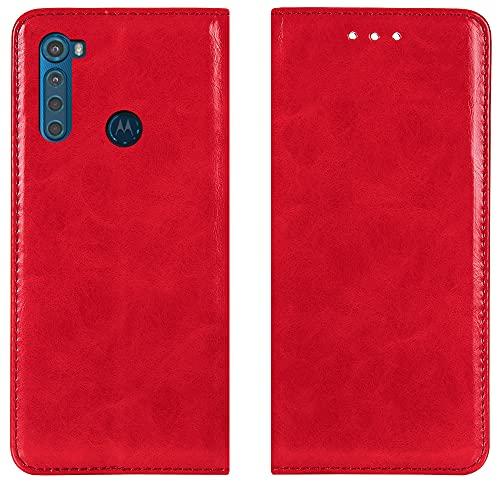 MARKTEO Motorola One Fusion+ Plus Hülle, Motorola One Fusion+ Plus Handyhülle [Kartenfächer] [Magnetverschluss] Flip Hülle Brieftasche Klapphülle Etui Schutzhülle für Motorola One Fusion+ Plus - Rot
