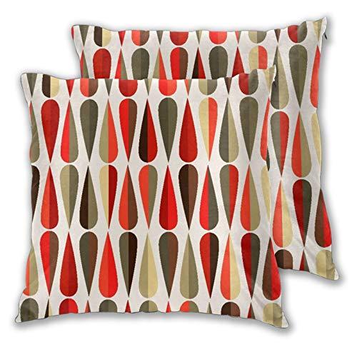 BROWCIN 2 Pack Kissenbezüge 60er 70er Jahre Stil geometrisches rundes Design mit warmem Farbdruck Quadratische Kissenhüllen für das Wohnzimmer-Sofa, Schlafzimmer 45cm x 45cm