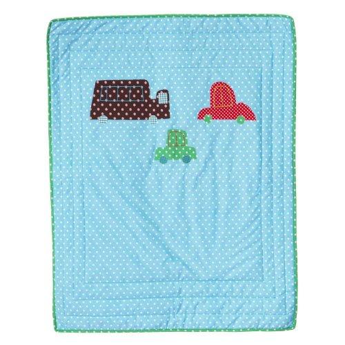 RICE Baby Decke - Auto - Spieldecke - Tagesdecke - 90x70 cm - blau