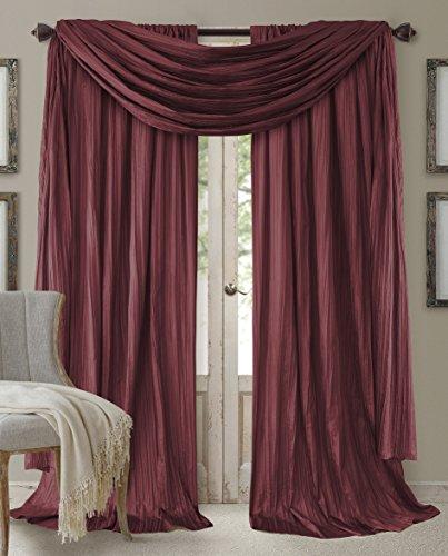 "Elrene Home Fashions 26865855180 Window Curtain Drape Rod Pocket Panel, Set of 3, 52"" x 84"", Red, 52""x84"" (2 1 Valance"