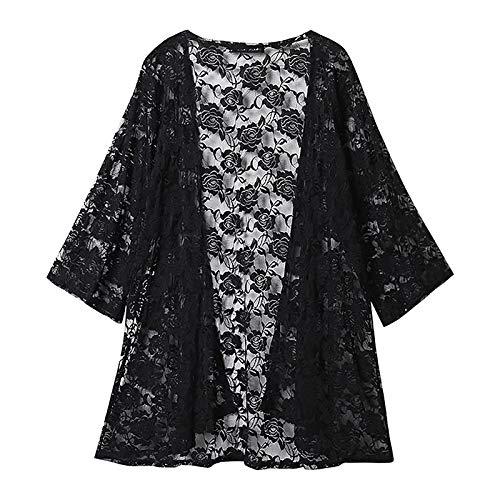 Janly Clearance Sale Blusa de manga larga para mujer, camiseta de encaje sexy bordada, manga 3/4, protector solar para playa, para invierno, Navidad (negro/L)