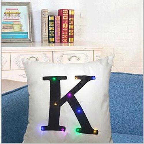 Mode lettres de grande Imprimé Couvre-lit Taie d'oreiller Coque Taie d'oreiller 45 x 45 cm avec LED lumineuse à l'intérieur Home Office Canapé Décoration style, K White, Taille unique