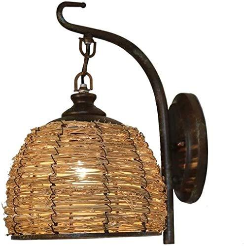 CYLYFFSFC Lámpara de Pared de ratán Hecha a Mano de país Americano homestay Inn E27 Bar Dormitorio Antiguo Restaurante casa de Campo Pasillo balcón decoración lámpara de ratán
