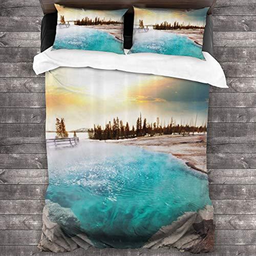 Starodec 3D Digitaldruck Bettwäsche Set,Heiße Quellen im Yellowstone-Nationalpark Sonnenscheinwolken Magische Erde Mutter Natur,Bettbezug mit 2 Kissenbezügen,Double(200 * 200cm)
