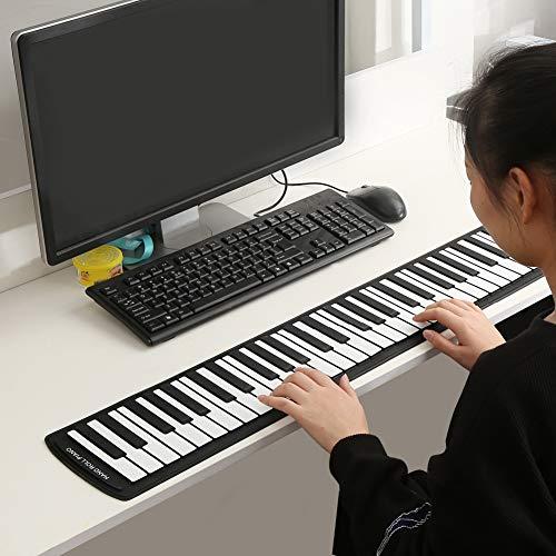 Teclado enrollable de 61 teclas, teclado musical para piano, portátil, para entretenimiento, para el hogar, para regalo de amigos
