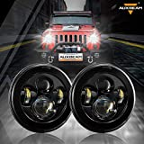 Auxbeam 7 Inch Round LED Headlights Replacement for Jeep Wrangler JK TJ LJ CJ Rubicon Sport Sahara Hummer H1 H2, 7' LED Headlamps for Unlimited JKU Peterbilt Ford H6024 Headlights, Black