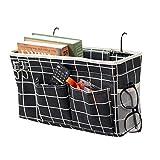 Loghot Bedside Caddy/Bedside Storage Bag Hanging Organizer for Bunk and Hospital Beds,Dorm Rooms Bed Rails,Can be Placed Glasses,Books,Mobile Phones,Keys (Black Lattice)