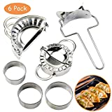 Dumpling Maker and Cutter, 6 Pcs Stainless Steel Dumplings Mold Set, Easy Chinese Dumpling Maker Pie Ravioli Empanadas Dough Press Mould Tool Kitchen Accessories