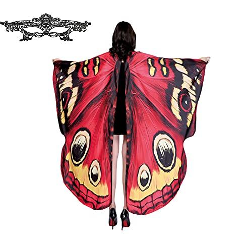 Charmlinda Chal de alas de mariposa de Halloween para las mujeres de color brillante ajustable correa de mano capa de vestir para fiesta de vacaciones, Encaje rojo., Talla única