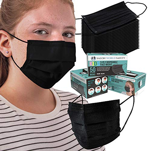 TCP Global Salon World Safety Kids Masks - Bulk 3 Boxes (150 Masks) in Sealed Dispenser Boxes of 50 - Black - 3 Layer Disposable Protective Children's Face Masks with Nose Clip & Ear Loops