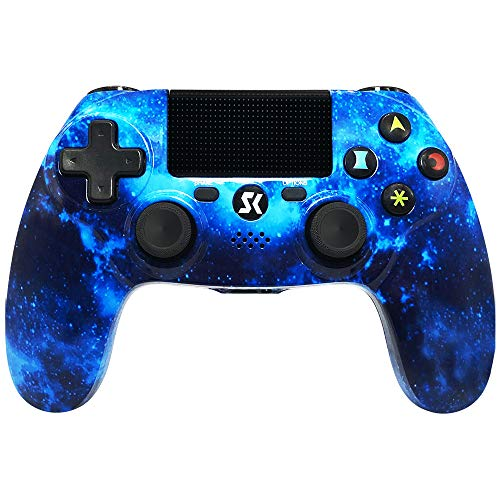 Controller PS4 Wireless per controller PlayStation 4 Controller Dual Shock per PlayStation 4 / Pro/Slim con Bluetooth, joystick per gamepad a sei assi (Blu)