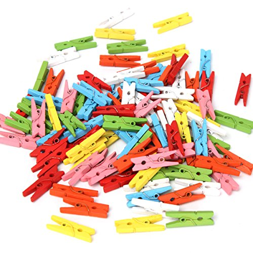 MJJEsports 100 Stks MJJEsports Houten Craft Pegs Kleding Peg Papier Foto Opknoping Lente 25mm Decoraties