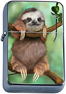 Sloth Furry Animal Flip Top Oil Lighter S2 Smoking Cigarette Smoker Includes Silver Case