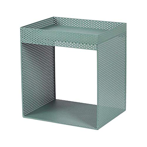 Mesa de centro, Mesas laterales de mesa, gabinete lateral de metal de hierro labrado Mesita de noche Acento Acento Mesa de café Mesa de noche, 4 colores Cafetería Color: Negro, Tamaño: 17.9114