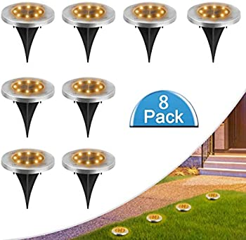 8-Pack Moaoo 8 LED Outdoor Waterproof Solar Garden Lights (Warm White)