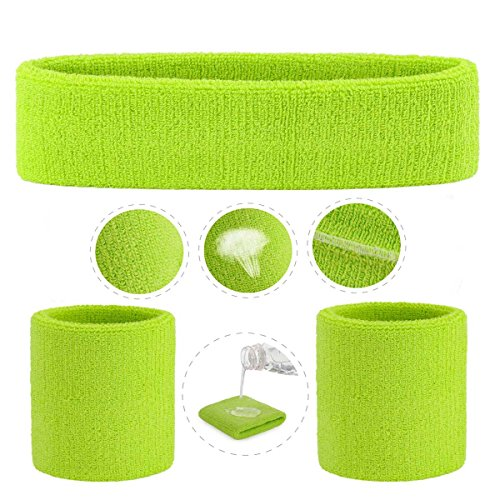ONUPGO Sweatband Set (3 Pieces) Sports Headband Wrist Striped Sweatbands Terry Cloth Wristband Athletic Exercise Basketball Wrist Sweatband and Headbands Moisture Wicking Sweat Absorbing Head Band