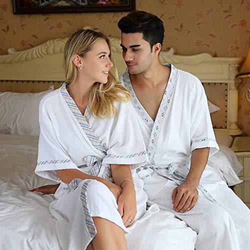 Pajamas Pyjama-Anzug, Baumwolle mit Taschen Bademantel, One Size Cotton Sleeve Paar Modelle Bademantel Futterkragen Hotel Nightgown, Sommer-Badeanzug Pyjamas, (Langarm),X-Groß,/ 2