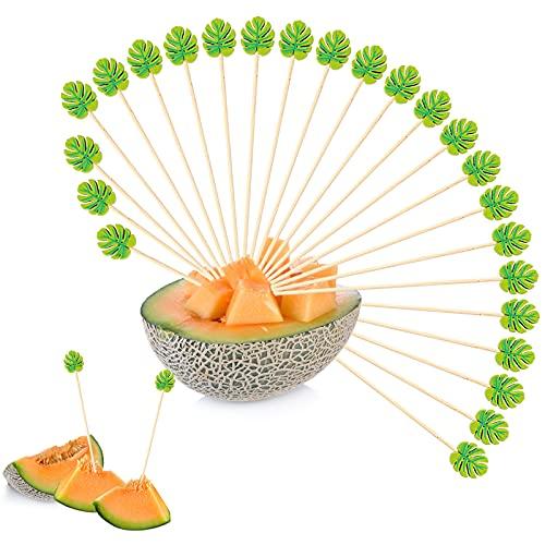 OOTSR - 150 stuzzicadenti con foglie verdi da 13 cm, stuzzicadenti per frutta e stuzzicadenti per feste, aperitivi, Martini, cibo per feste di compleanno, torte e spuntini decorativi