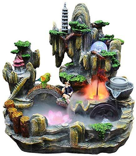 MissZZ Tischbrunnen Innen- und Außenwasserfallbrunnen und natürliche künstliche Bergsteinbrücken und Pavillon-Tischbrunnen Home-Office-Dekoration Feng Shui Wealth Decoration Geschenke Tabletop Fo