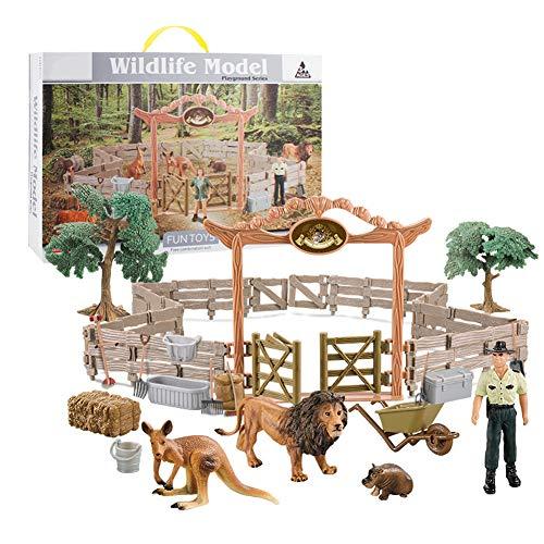 CJCJ-LOVE Tiere Abbildung Spielwaren, Mini Afrikanische Dschungel-Tiere Modell Spielzeug-Set, Realistisch Wilder Fester Kunststoff Wald Kleintier Tiger Elefant Löwe Dekorative Ornamente,B