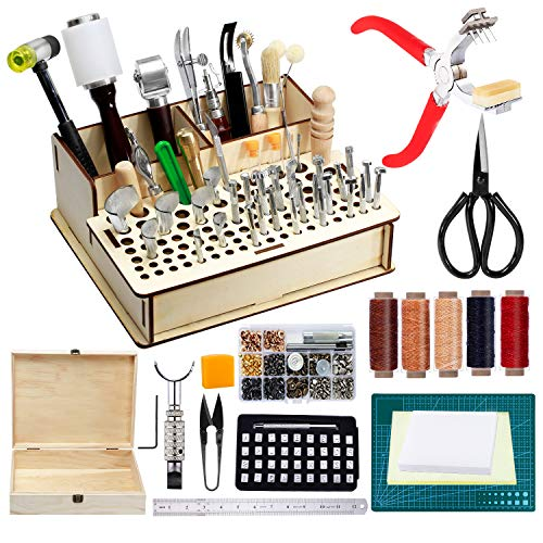 447 Pieces Leather Tools Kit, Leather Making Tools and Supplies Kit,...