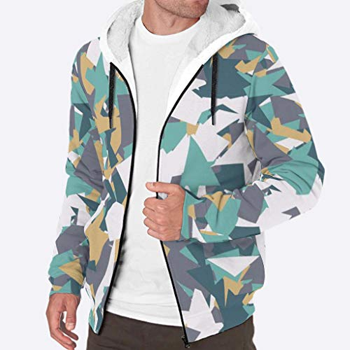 YxueSond Heren Zip Up Hooded Winter Thicken Fleece Graphics Camouflage geometrische Hoodie Sweatshirt Jas