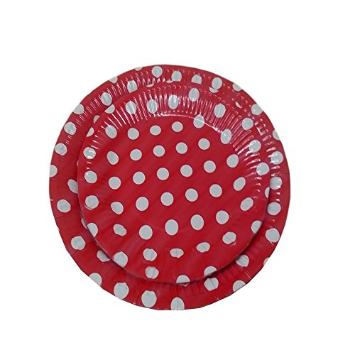 Christmas 24 Red and White Polka Dot Dinner and Dessert Plates- Pack Of 24- Includes 12 9 Inch and 12 7 Inch Party Plates. By Premium Disposables.
