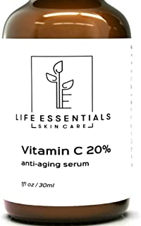 Life Essentials 20% Vitamin C Serum for Face with Hyaluronic Acid - 1 Fl. Oz. - Organic Anti Aging Face Serum For Youthful, Glowing Skin - Fades Dark Spots, Wrinkles, and Acne Scars