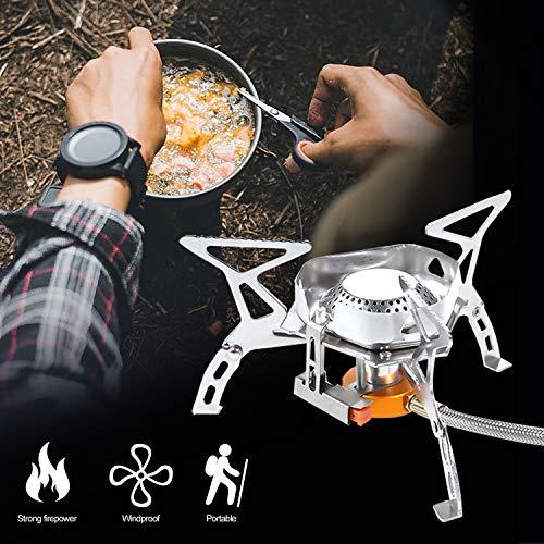 Lepeuxi Estufa G-as al Aire Libre Camping Quemador G-as Plegable Senderismo Estufa Dividida Plegable portátil