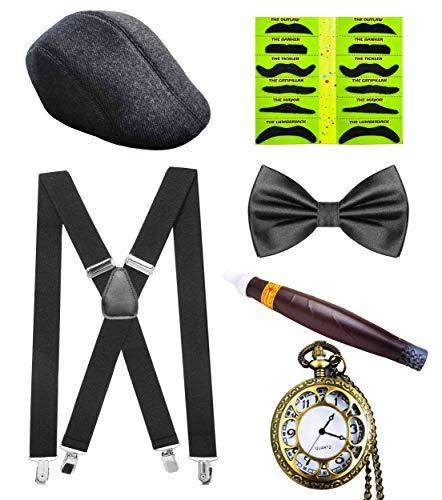 Seawhisper 20er Jahre Kostüm Herren Flapper Mafia Gangster Outfit Accessoires-Set Hosenträger Tweed Mütze Klebebärte, 50er Faschingskostüm Gatsby Charleston Al Capone