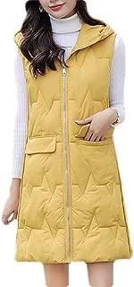 Macondoo Womens Winter Puffer Vest Windbreaker Quilted Hooded Warm Down Vest Coat