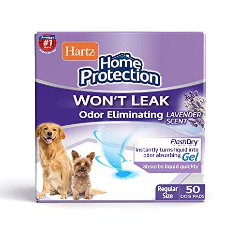 Hartz Home Protection Odor Eliminating Scented Dog Pads, Super Absorbent & Won't Leak, Lavender Scent, Regular Size, 50 Count