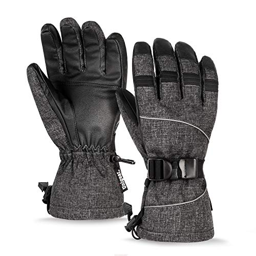 Unigear Skihandschuhe, Top Wasserdicht, Winterhandschuhe, Touchscreen Handschuhe, Ski/Snowboard Handschuhe für Herren und Frauen, MEHRWEG (Dunkelgrau, L)