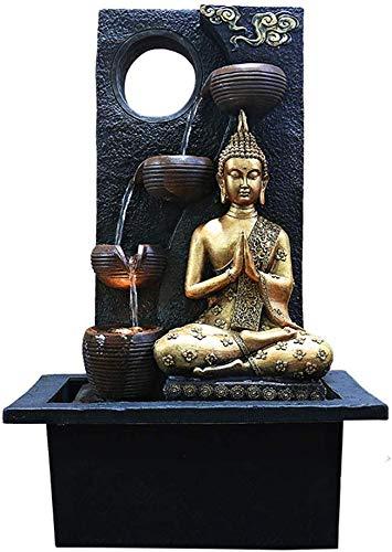 Knoijijuo Zen Indoor-Wasser-Brunnen mit Wasserpumpe - Buddha-Statue Edelstein Feng Shui-Ornamente Groß für Büro, Wohnzimmer, Schlafzimmer,A