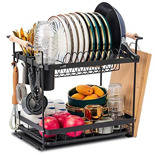 Abtropfgestell mit abtropfwanne,2-stufiges Geschirr Abtropfständer, Geschirrabtropfgestell Edelstahl 304, Geschirrständer mit Tellerständer,Geschirrtrockner für Küche Geschirr und Teller (Schwarz)